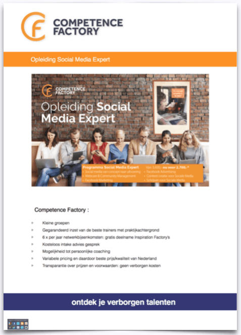 voorkant brochure social media